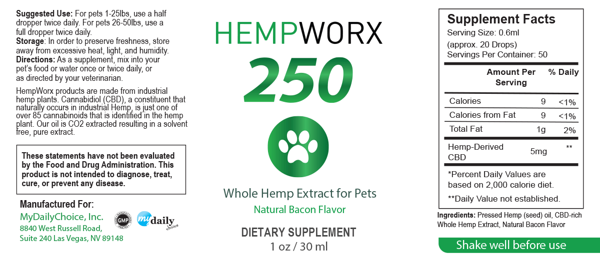 HempWorx Suggested Serving Size