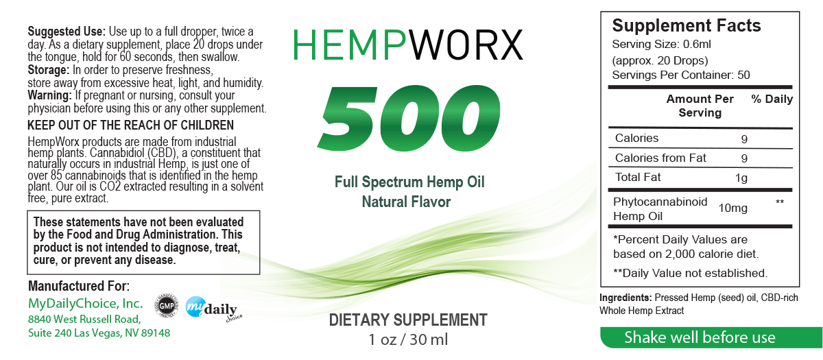 HempWorx Suggest Serving for 500mg Oil