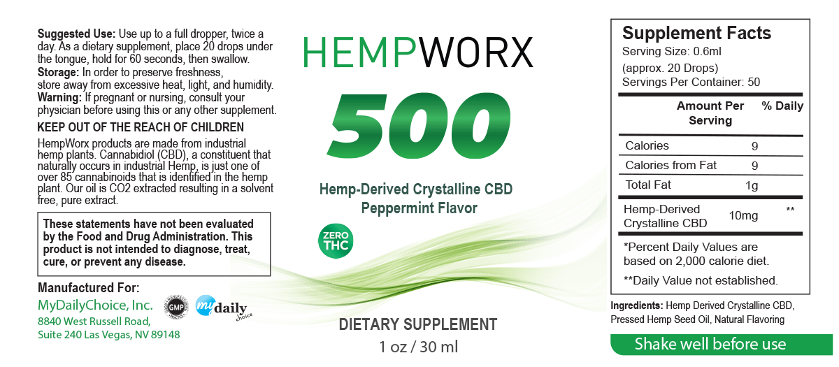 HempWorx 500mg Serving Size