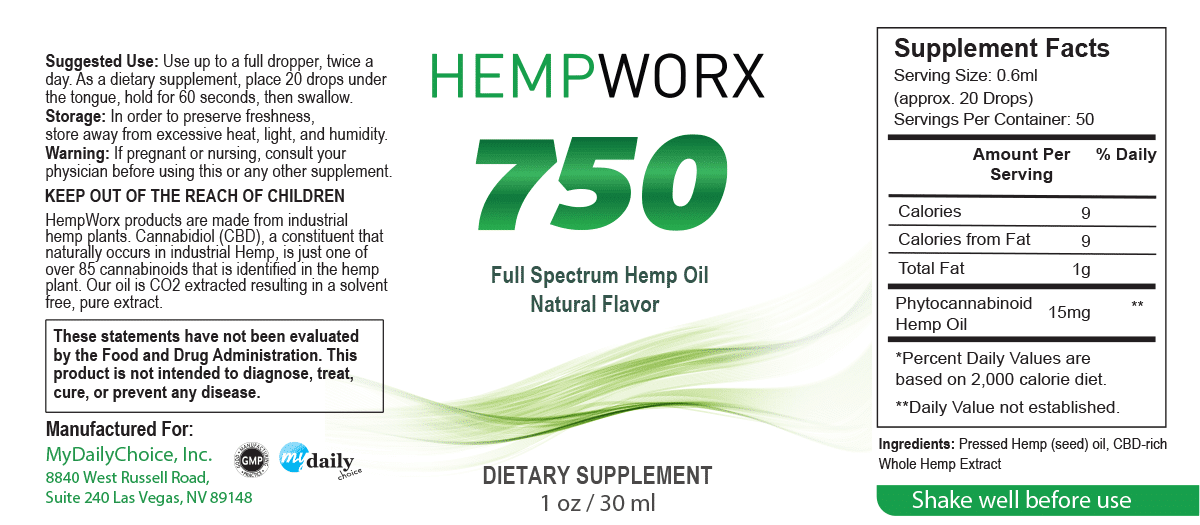HempWorx Natural Serving Size