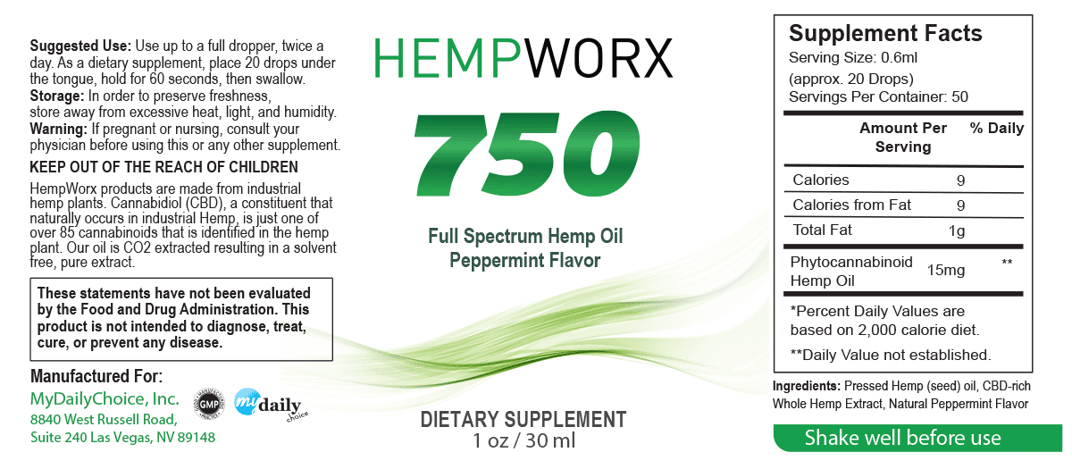 HempWorx 750mg Serving Size