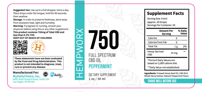 750mg HempWorx Full Spectrum Label Ingredients Peppermint