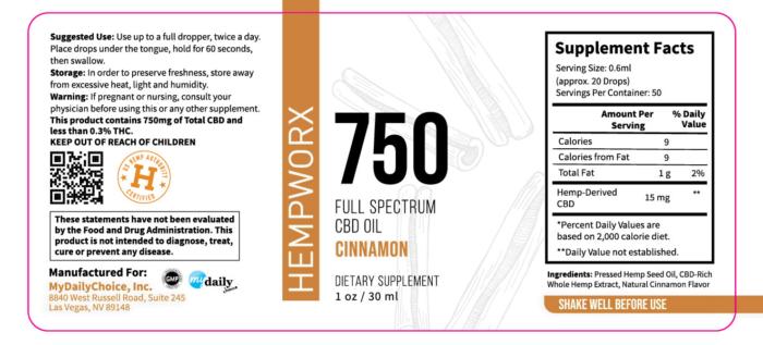 750mg HempWorx Full Spectrum Label Ingredients Cinnamon, hempworx 750 cost