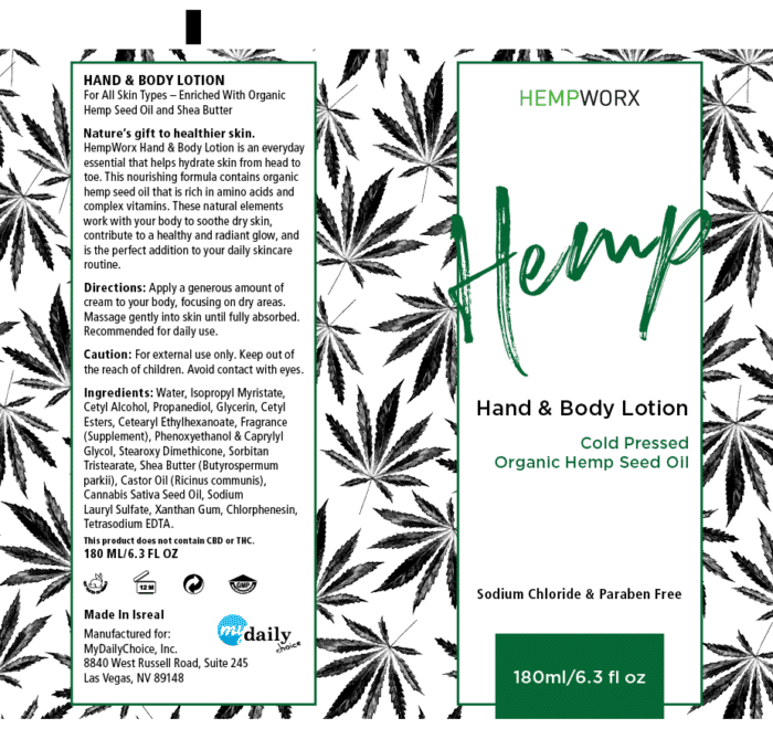 HempWorx Hand & Body Lotion Label