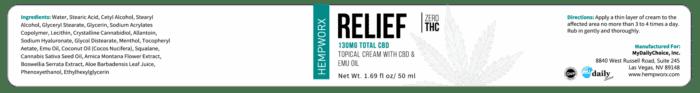 HempWorx Relief 30ml label ingredients