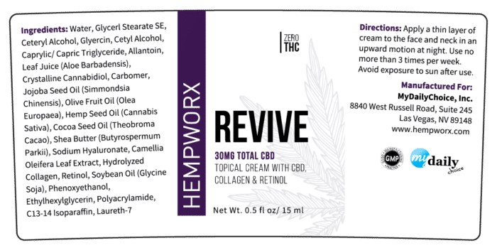 HempWorx Revive Label Ingredients