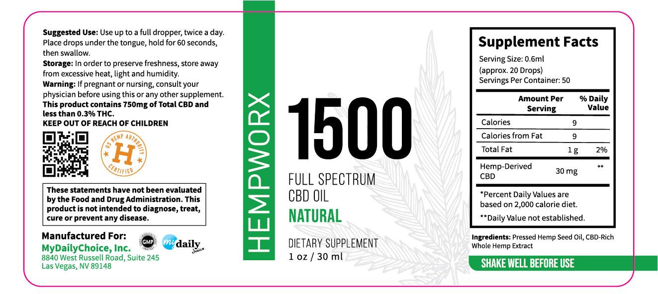 1500mg HempWorx Full Spectrum Label Ingredients Natural