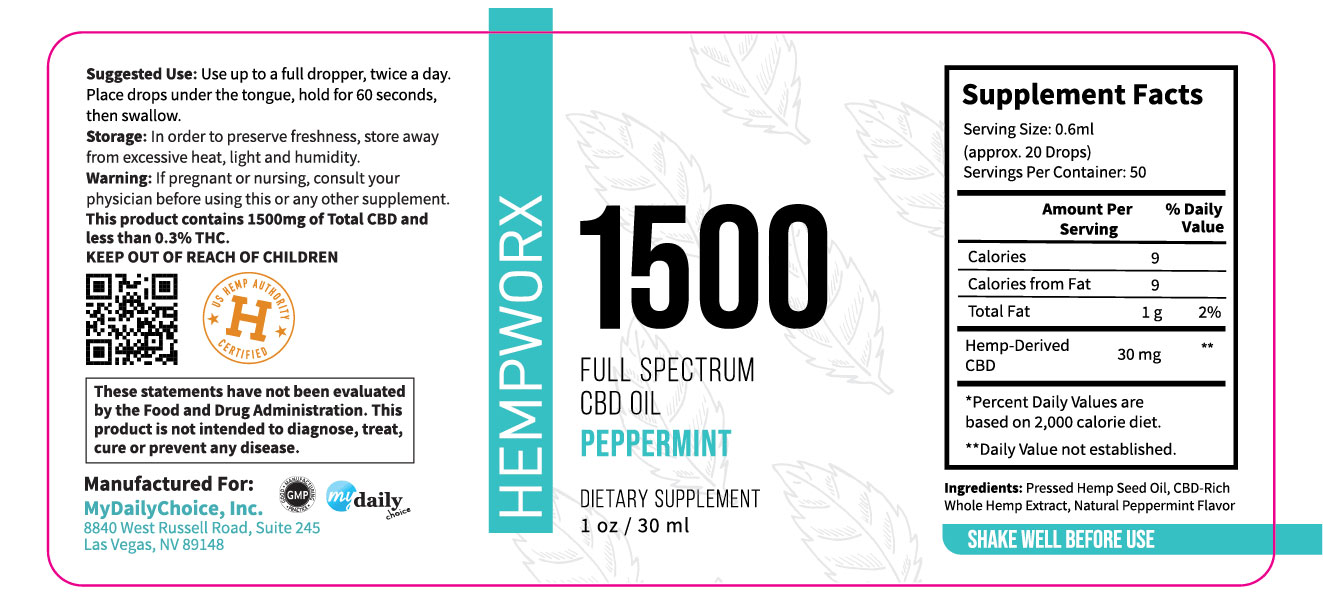 1500mg HempWorx Full Spectrum Label Ingredients Peppermint