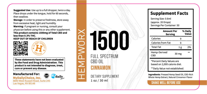 1500mg HempWorx Full Spectrum Label Ingredients Cinnamon