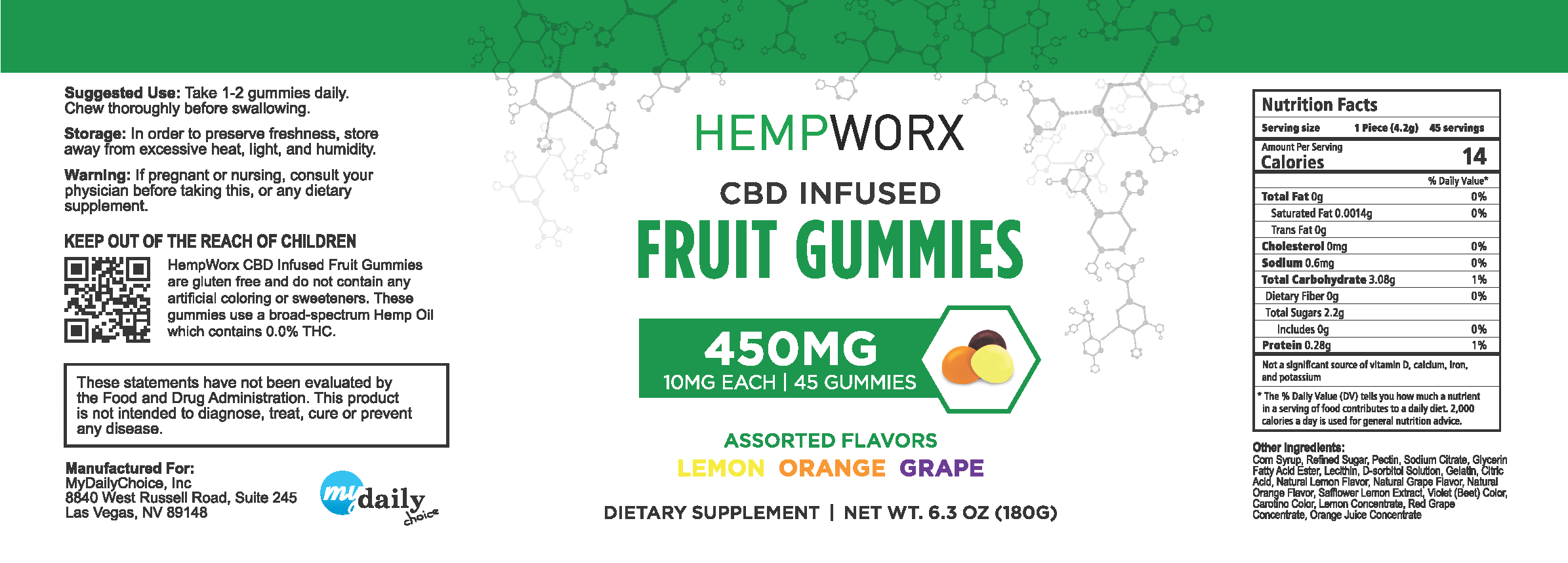 HempWorx Gummies Label