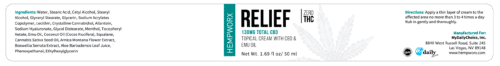 HempWorx Relief 50ml label ingredients