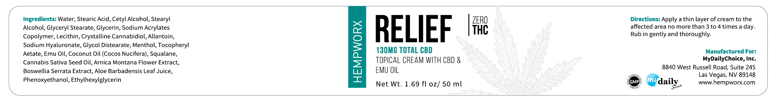 HempWorx Relief 50ml label ingredients